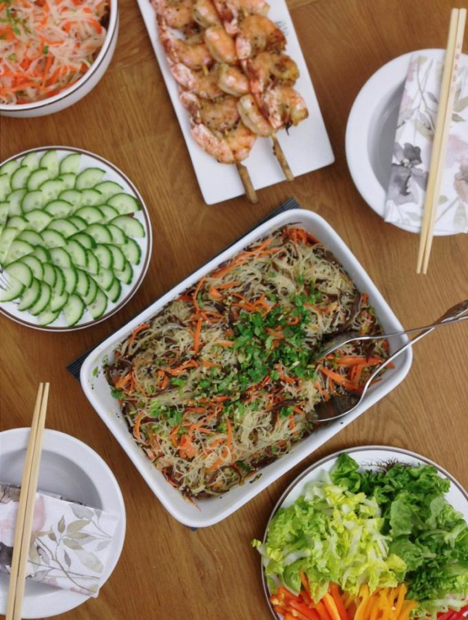 veganer und fructosearmer Glasnudelsalat mit Morcheln und Sesam